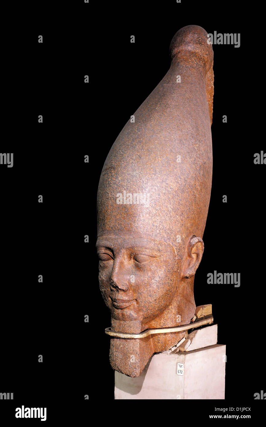 Egypt royal head, wearing the crown of Upper Egypt New Kingdom Egyptian Museum Cairo - Stock Image