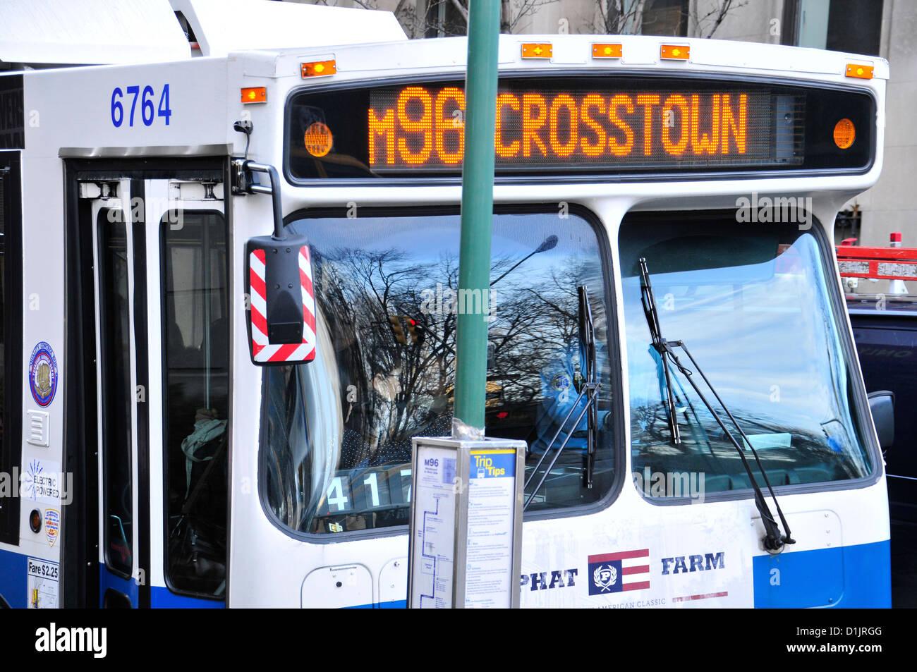 New York City Public Transportation M96 Crosstown MTA Bus on 5 th Avenue, Manhattan, New York City, USA - Stock Image
