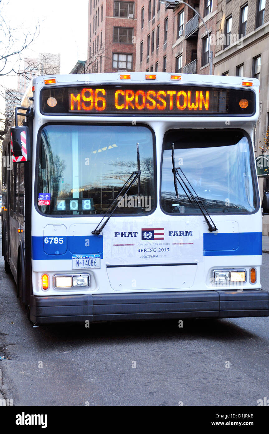 New York City Public Transportation M96 Crosstown MTA Bus on the Upper East Side, Manhattan, New York City, USA - Stock Image