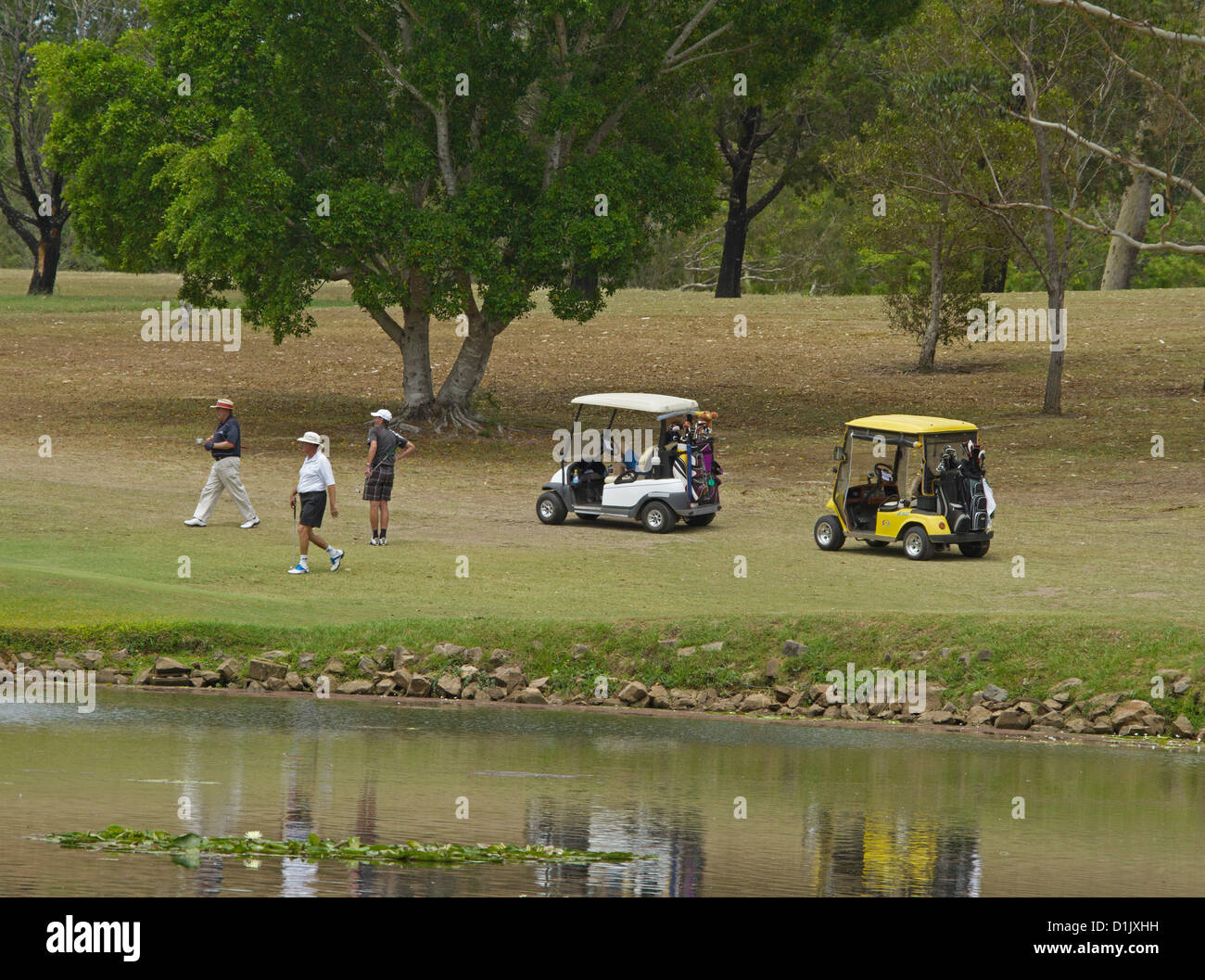 Golfers with golf buggies / electric carts beside the lake at picturesque golf course at Maryborough Australia - Stock Image