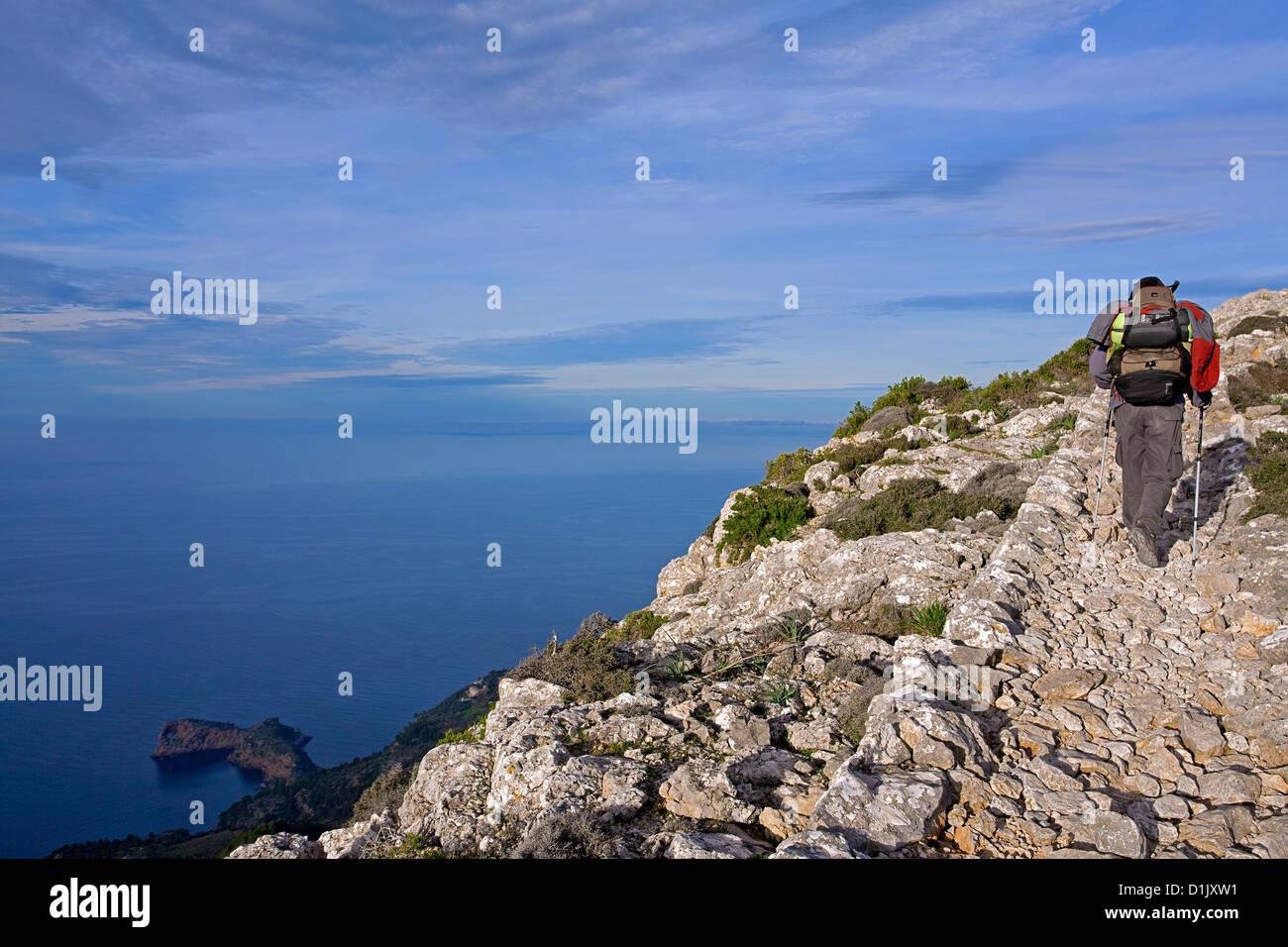 Trekking in Mallorca. Cami de s´Arxiduc (Arxiduc trail). Balearic Islands. Spain - Stock Image