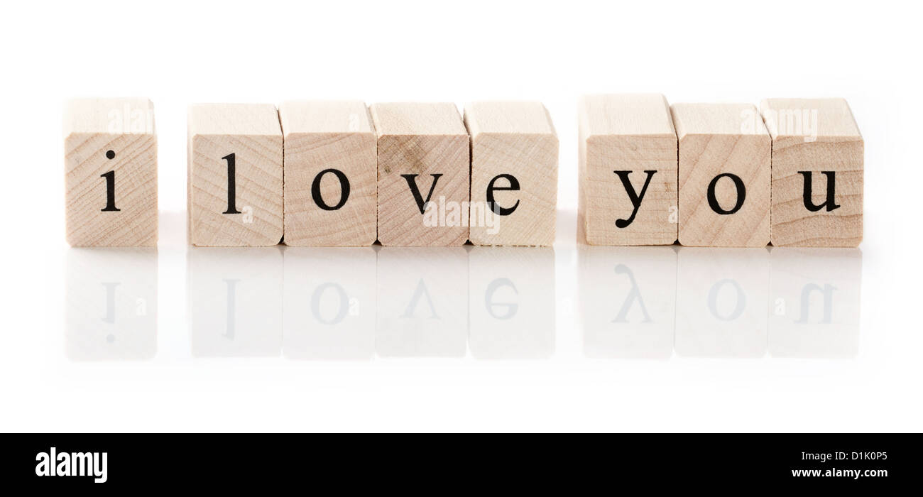 I love you spelled in wooden blocks, isolated on white background Stock Photo