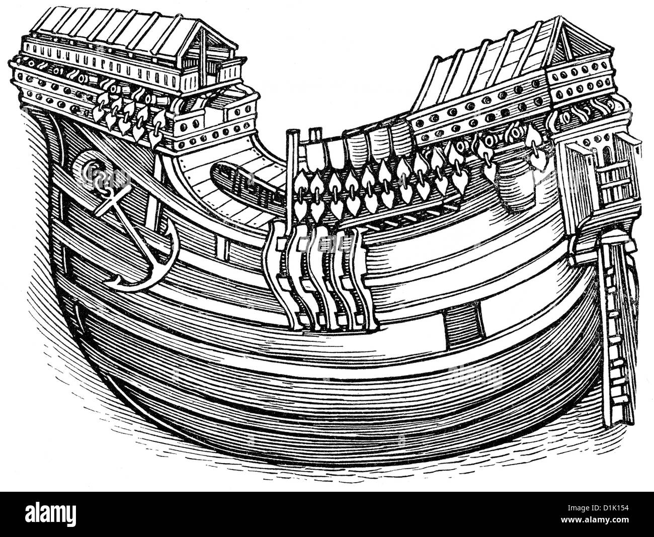 Historical drawing of a ship's hull, ship of an East Indian explorer, a ship of the Dutch East India Company, - Stock Image