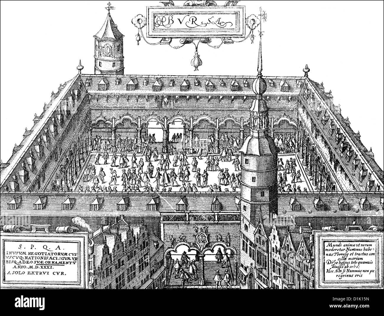 illustration of the trade exchange in Antwerp, 16th century, Belgium, Europe, - Stock Image