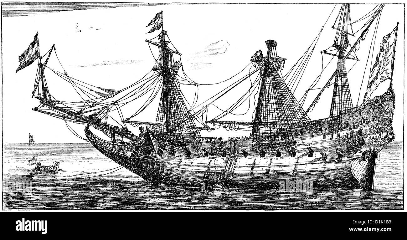 a ship of the Dutch East India Company, 17th century, - Stock Image