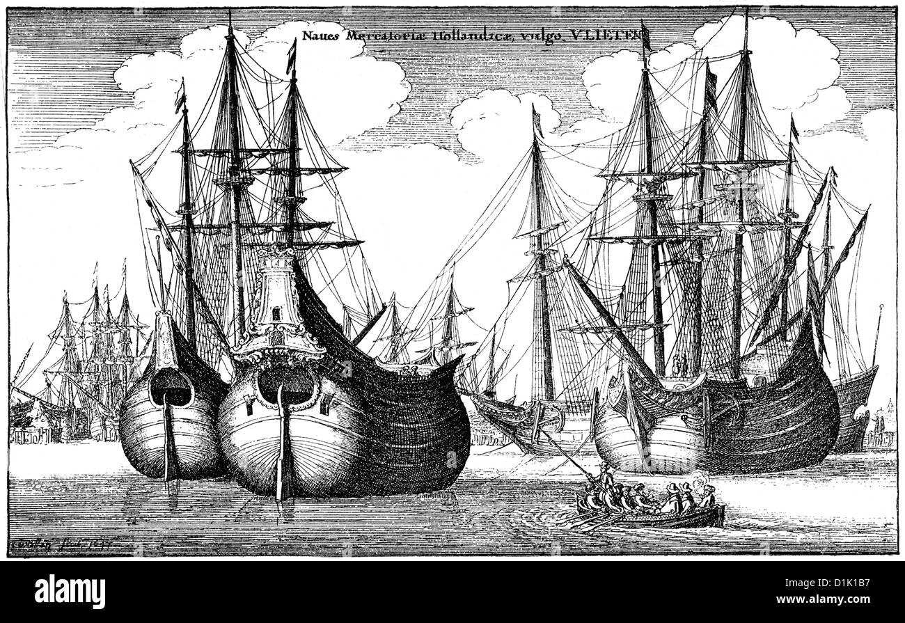 Dutch merchant ships in the harbor, ships of the Dutch East India Company, 17th century, - Stock Image