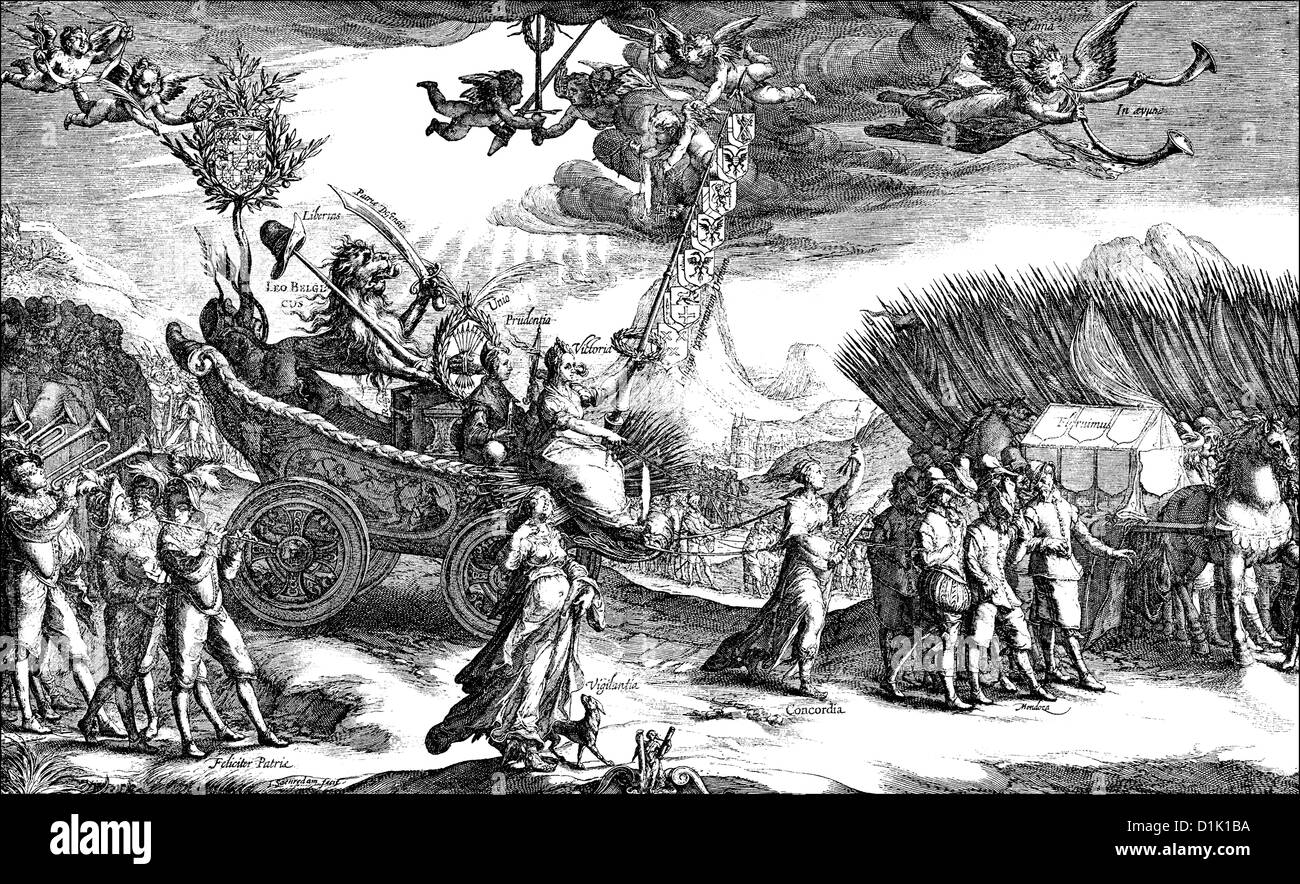 allegorical image of the Belgian campaigns of Maurice of Nassau, Prince of Orange, Count of Nassau-Dillenburg, 1567 - Stock Image