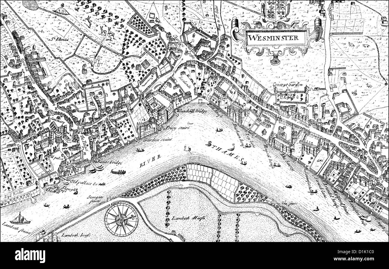 city map of Westminster with the River Thames, 17th century, a district of London, England, Europe - Stock Image