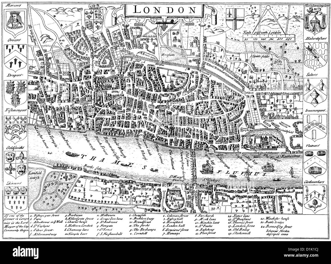 London 1600 Map.Map Of London England United Kingdom Around 1600 Stock Photo