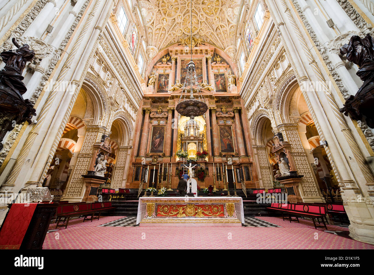 high altar of the mezquita cathedral in cordoba andalucia spain