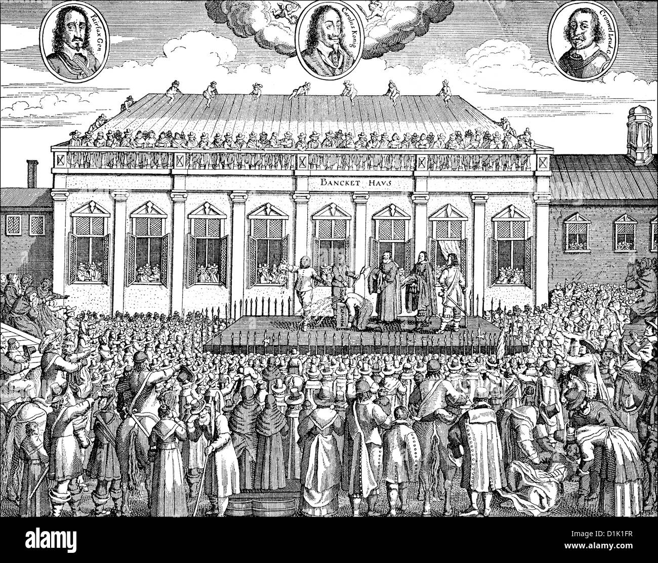 execution of Charles I, 1600 - 1649, in front of the Whitehall Palace in  London, on 30th January 1649, King of England, Scotland