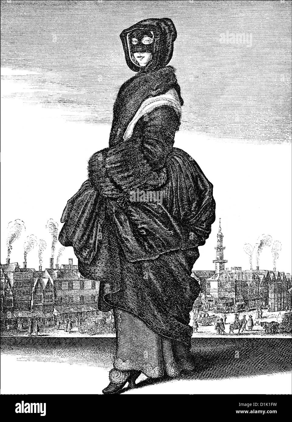 winter of 1643, a noble woman from London wearing a mask, 17th century,