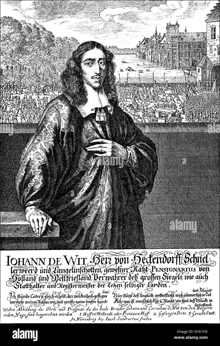 Johan de Witt or Jan de Wit, 1625 - 1672, Grand Pensionary of Holland, the most important Dutch statesman in the - Stock Image