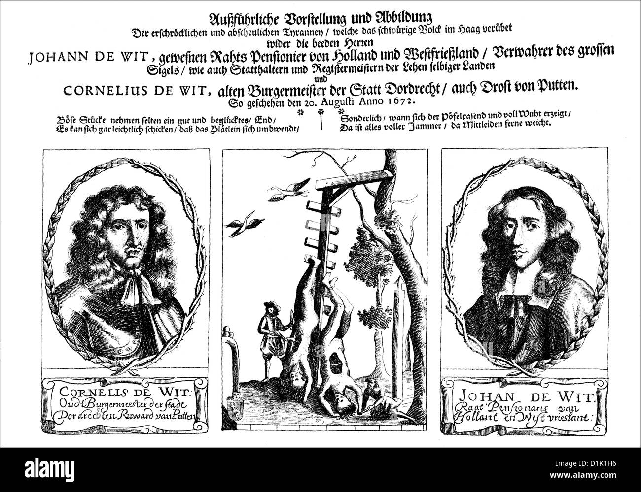 German pamphlet of 1672, the bodies of the brothers Johan and Cornelis de Witt, killed by the shooters company in - Stock Image
