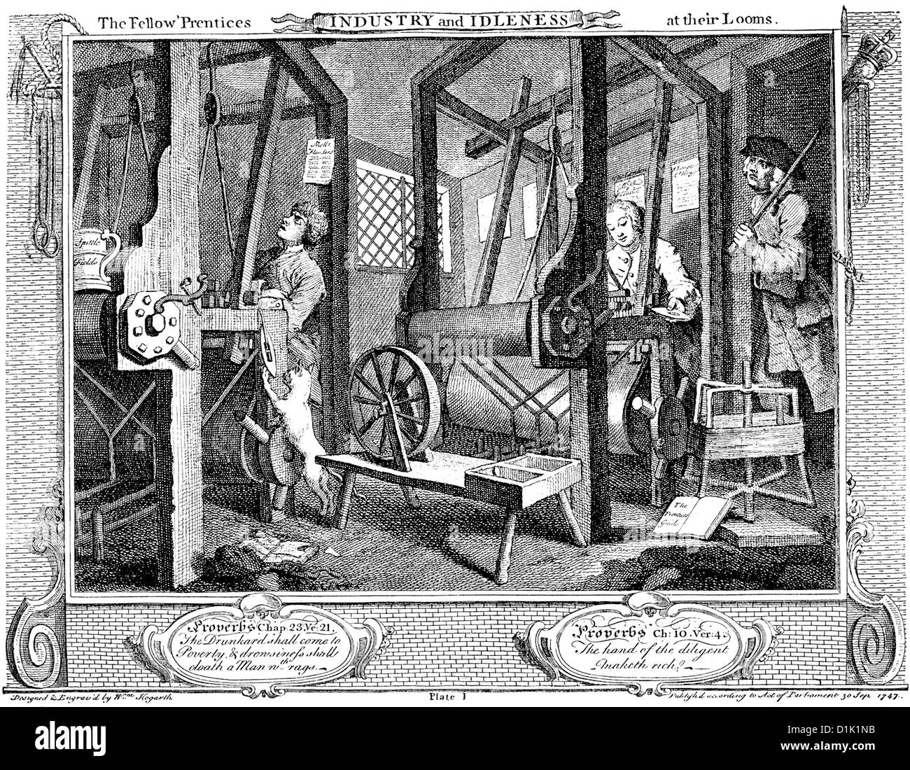 Weaving mill at a residential house in the middle of the 18th century in England, historic drawing by William Hogarth, - Stock Image