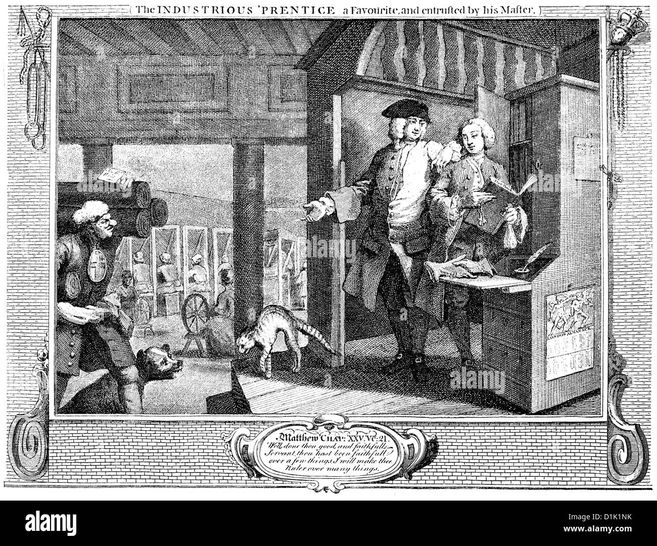 A cloth weaving mill in the middle of the 18th century in England, historic drawing by William Hogarth, 1697 - 1764 - Stock Image