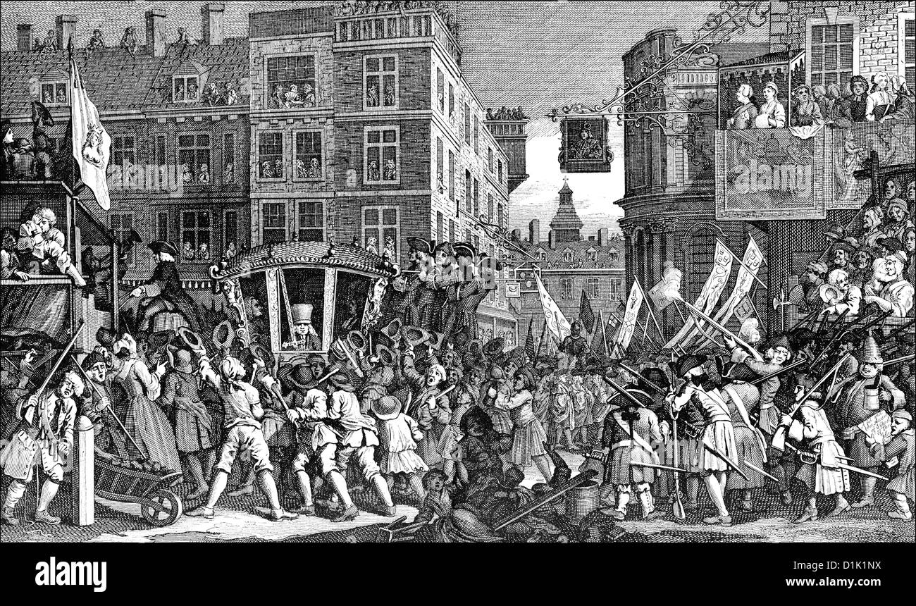 Parade, Lord Mayor's Show, 1750, the newly elected Lord Mayor of the City of London, England, 18th century - Stock Image