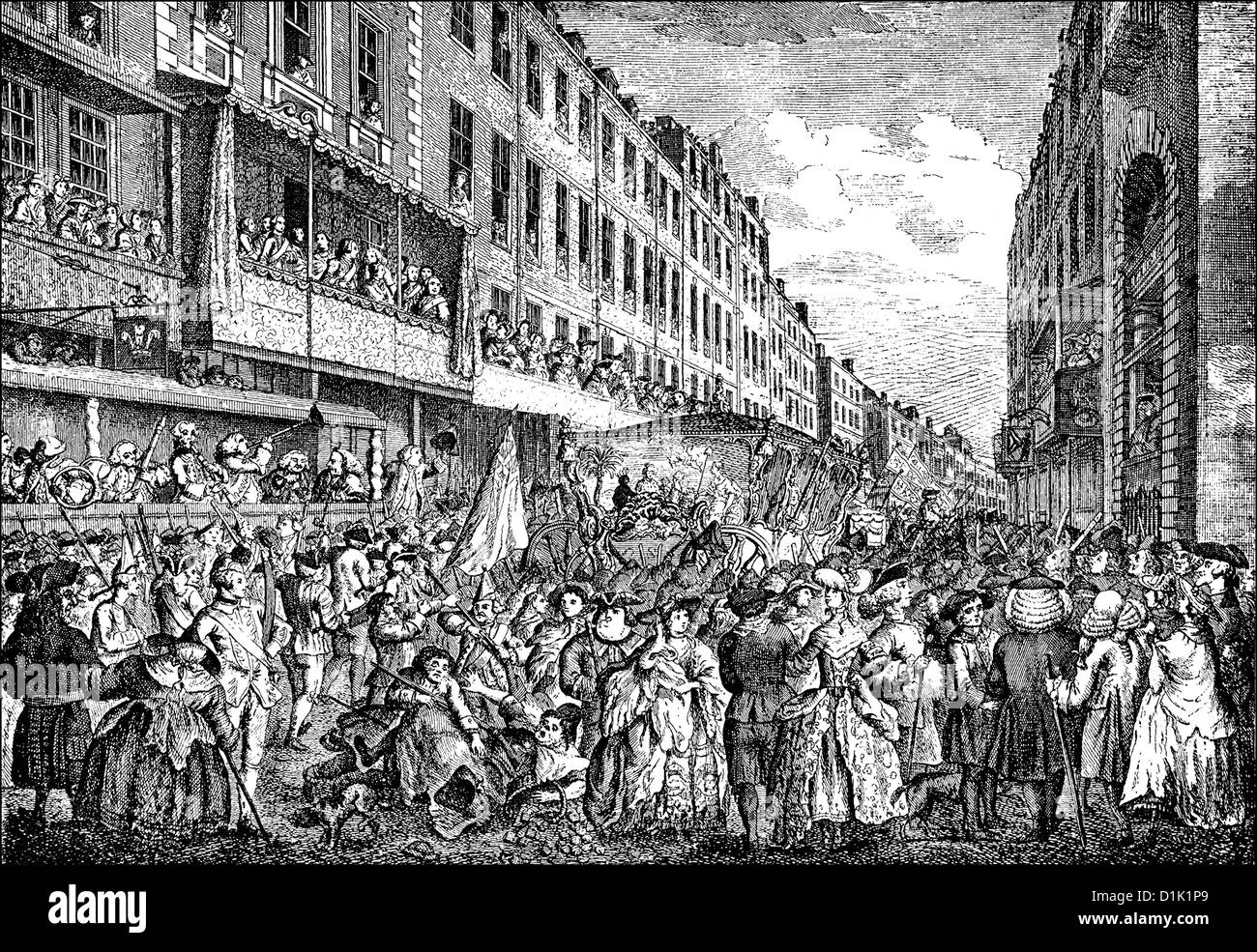 Parade, Lord Mayor's Show, 1780, the newly elected Lord Mayor of the City of London, England, 18th century, - Stock Image