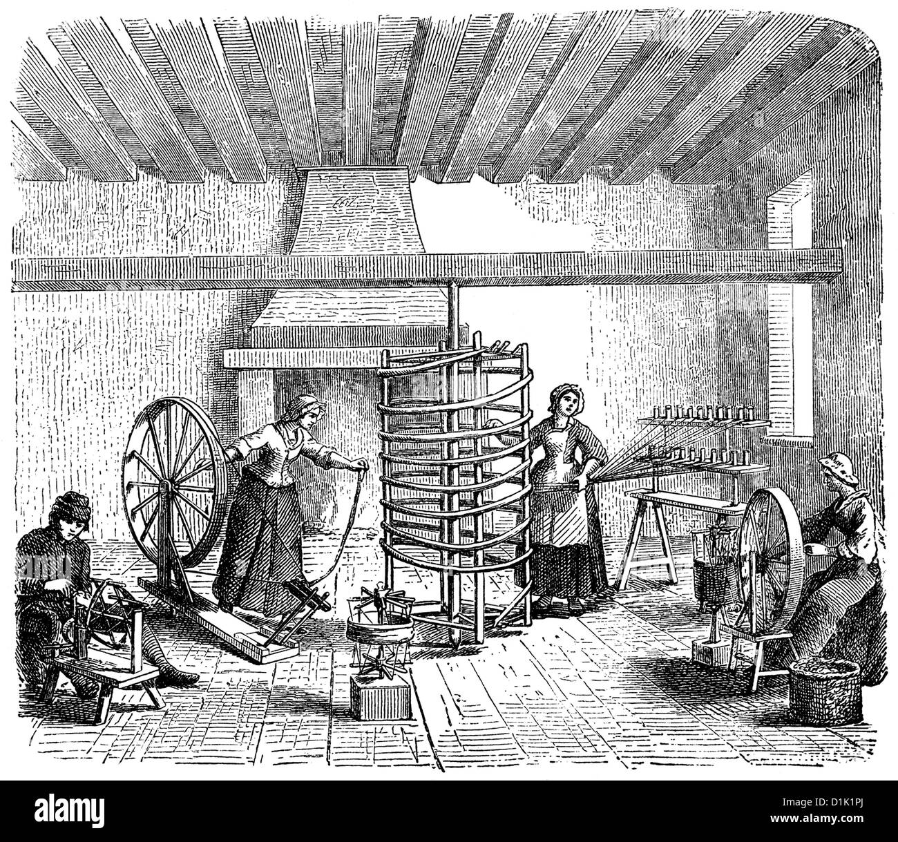 English family spinning and reeling, prior to the invention of the ...