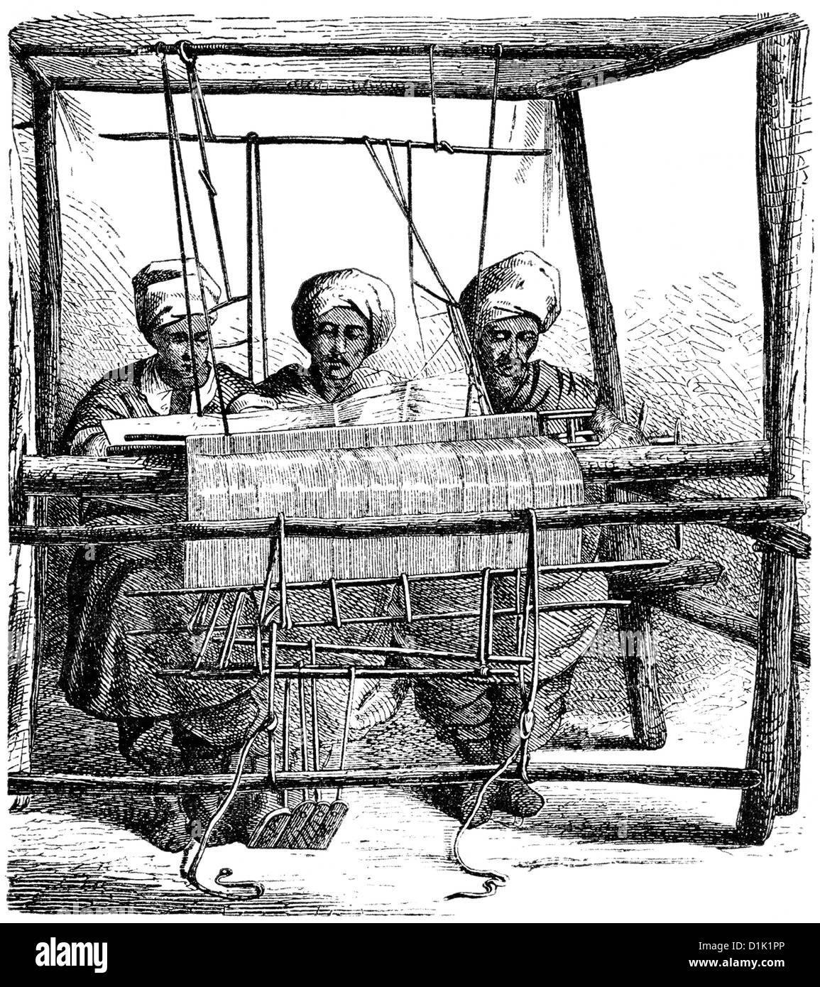 Indian weavers working on a mechanical weaving loom, 18th century - Stock Image