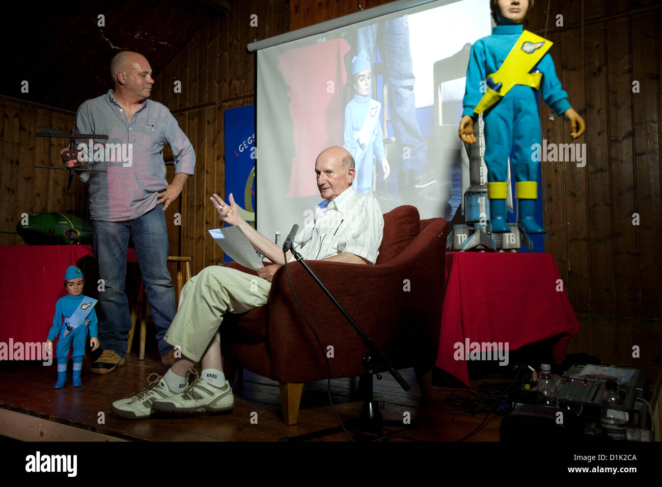Gerry Anderson, creator of  the TV series Thunderbirds and Stingray at the Wootton talks.  Died 26th December 2012 - Stock Image