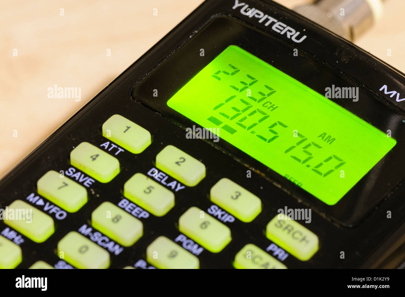 Radio scanner tuned to an aircraft frequency - Stock Image