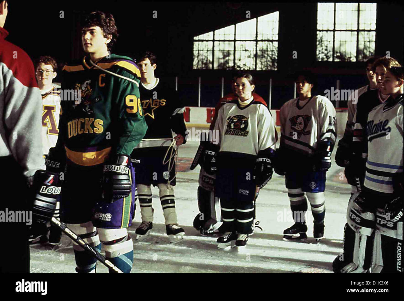 Mighty Ducks 3 - Jetzt Mischen Sie Die Highschool Auf  D3: Mighty Ducks  Averman (Matt Doherty), Charlie (Joshua - Stock Image