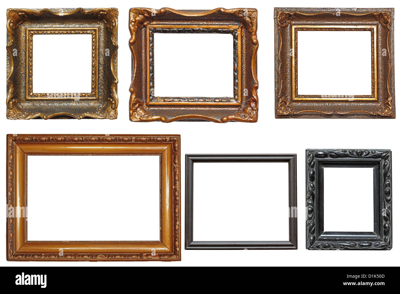 collection of beautiful old wooden frames for paintings isolated on ...
