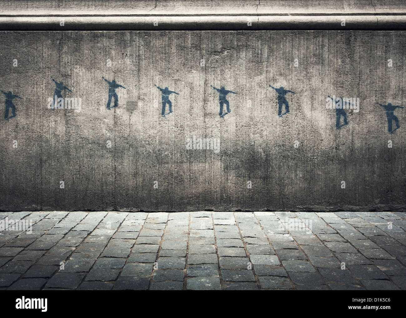 Graffiti series on a concrete wall of a skateboarder moving through the air stock