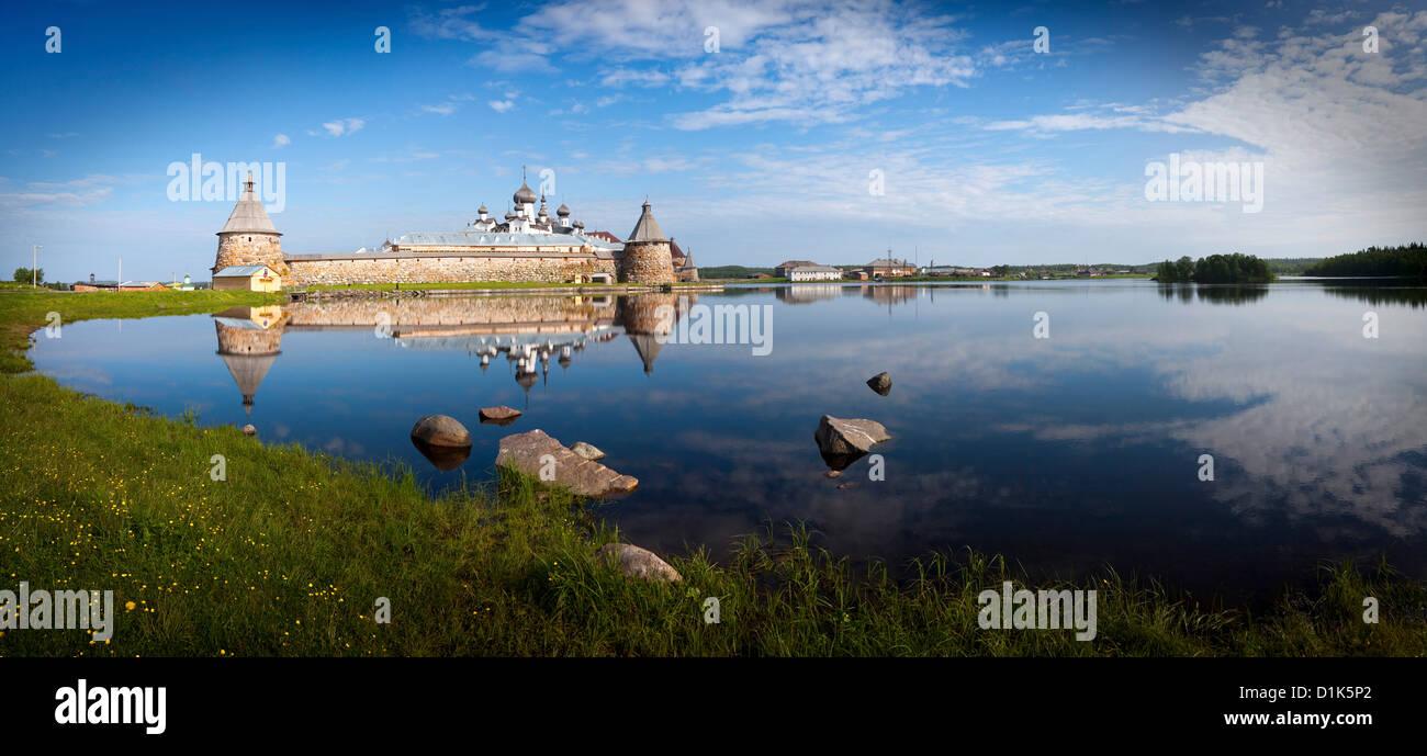 Spaso-Preobrazhenskiy solovetsky monastery, Holy Lake, Solovki, Solovetsky Archipelago, White Sea, Karelia, Arkhangelsk Stock Photo