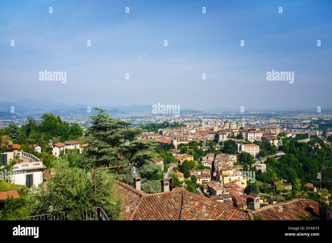 A View over Bergamo as seen from the hills of Citta Alta (upper town). Lomberdy, Italy. Stock Photo