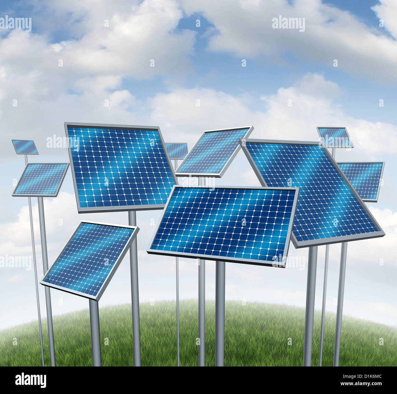 Renewable energy with solar panels symbol of a photovoltaic power station technology or sun farm represented by - Stock Image