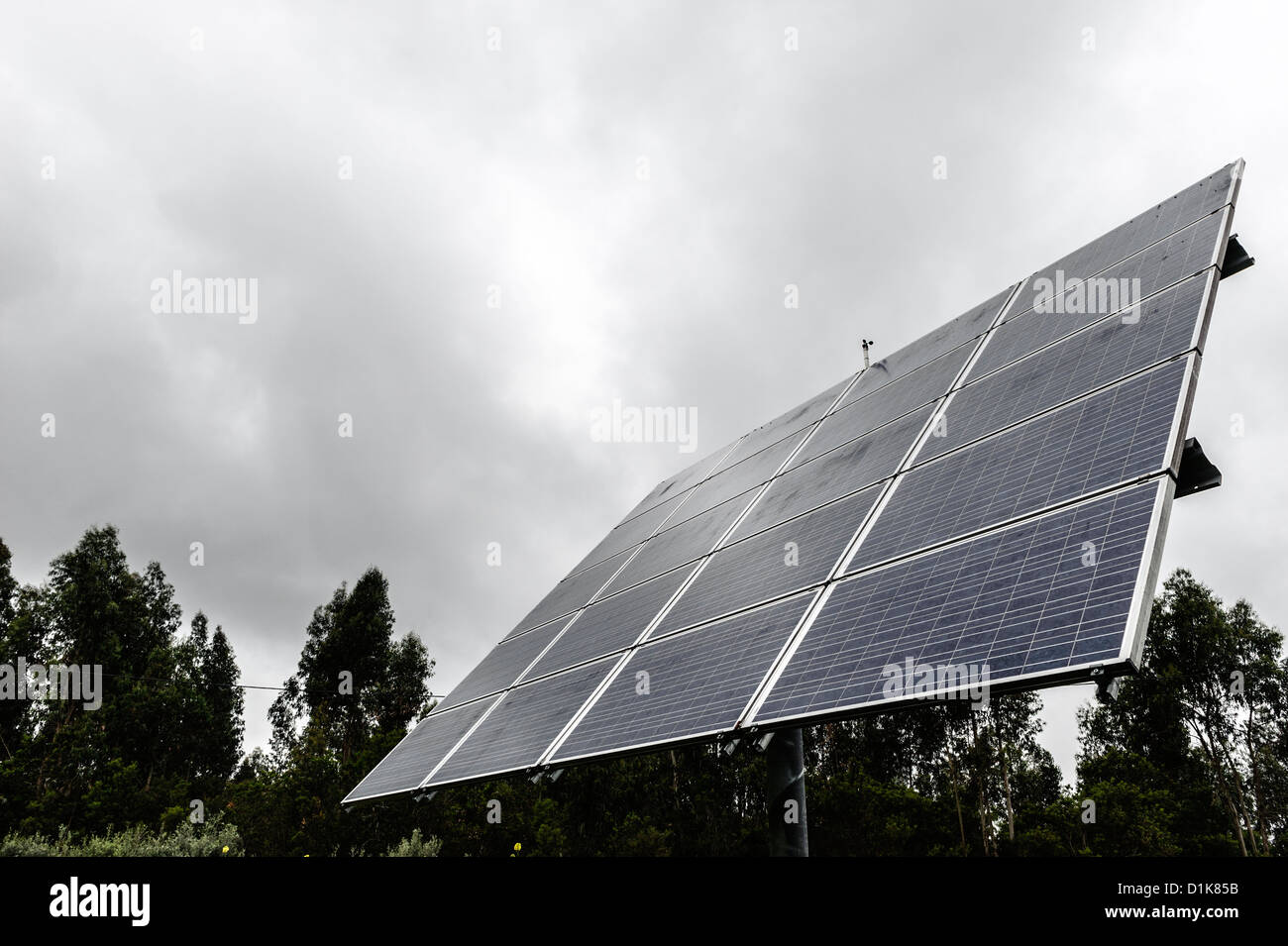 Solar panels on an overcast day - Stock Image