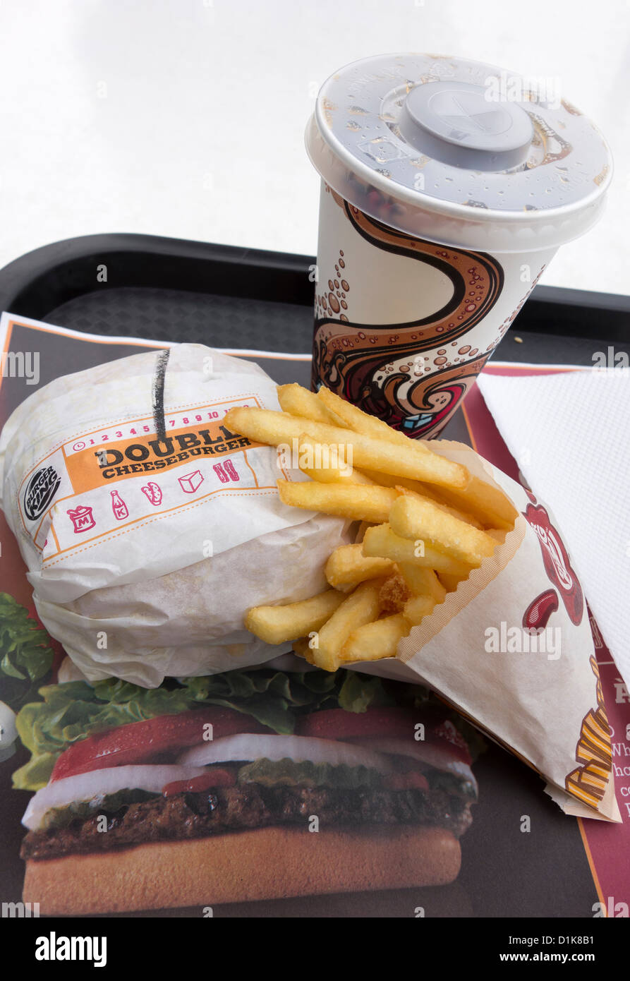 Burger King Menu With Double Cheeseburger Fries And Beverage Stock