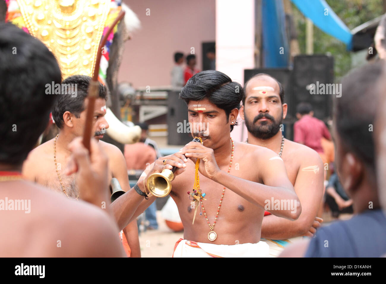 Musicians at the pooram festival. - Stock Image