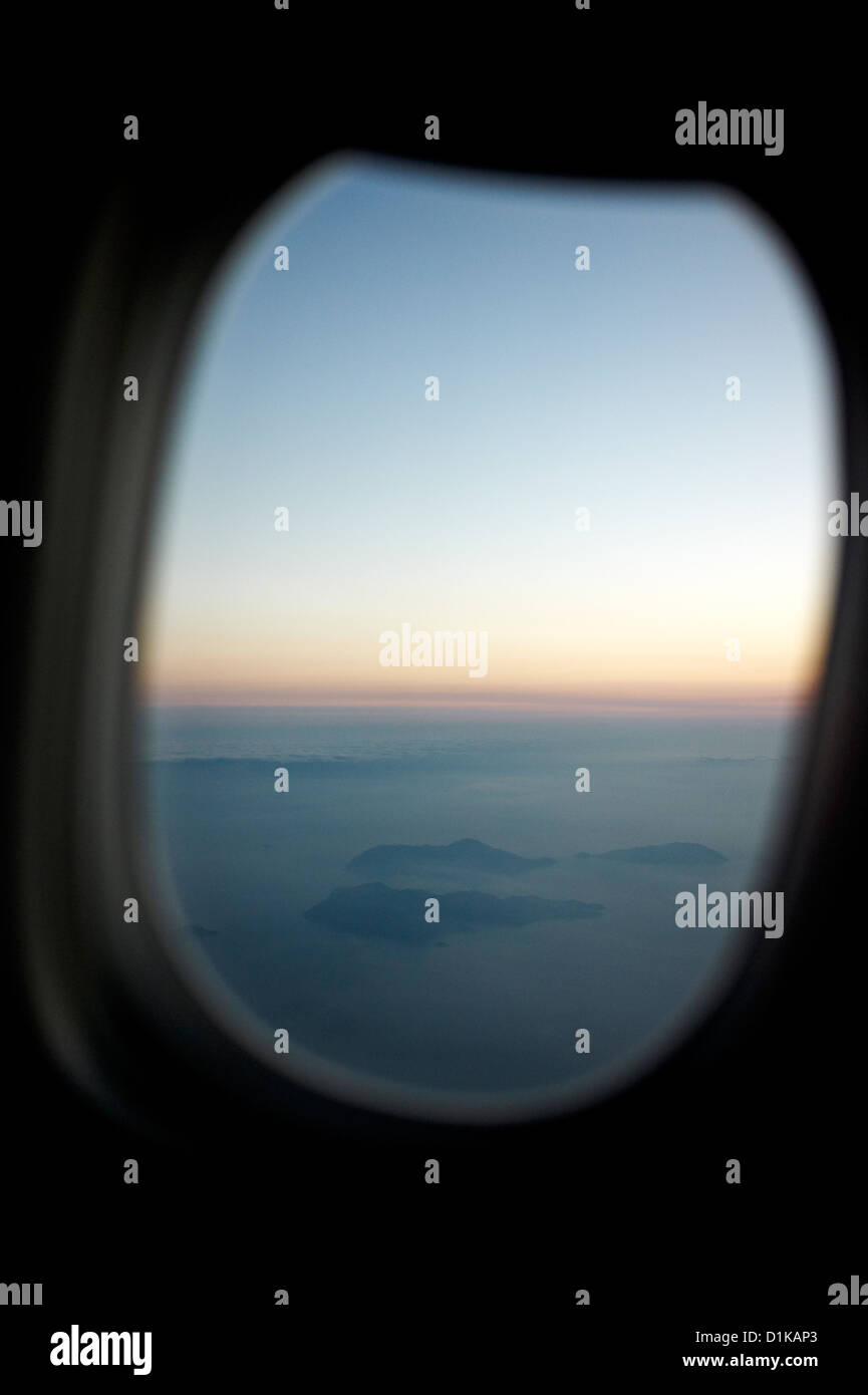 Aerial shots from windows of airplane - Stock Image