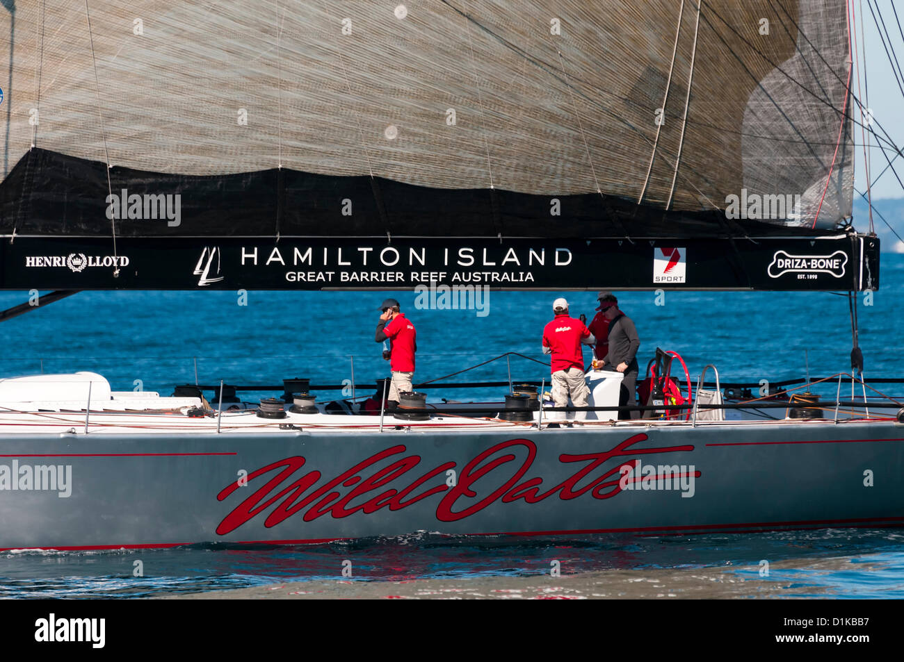 Wild Oats XI on the Gold Coast, Queensland, Australia 2012. Practice sail for the Sydney to Hobart Yacht Race. - Stock Image