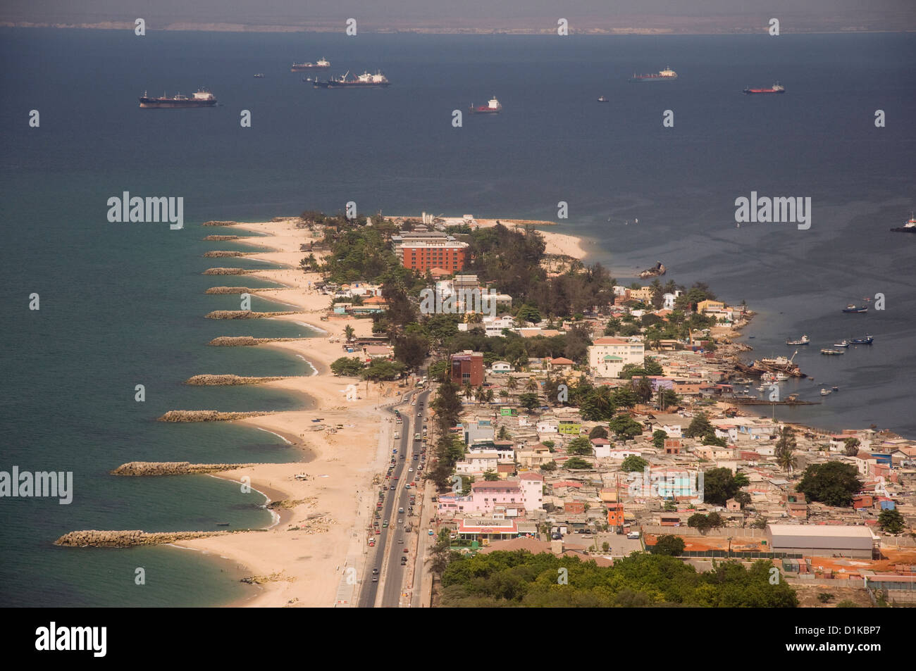 Aerial view of Ilha de Luanda, Luanda Angola. Stock Photo