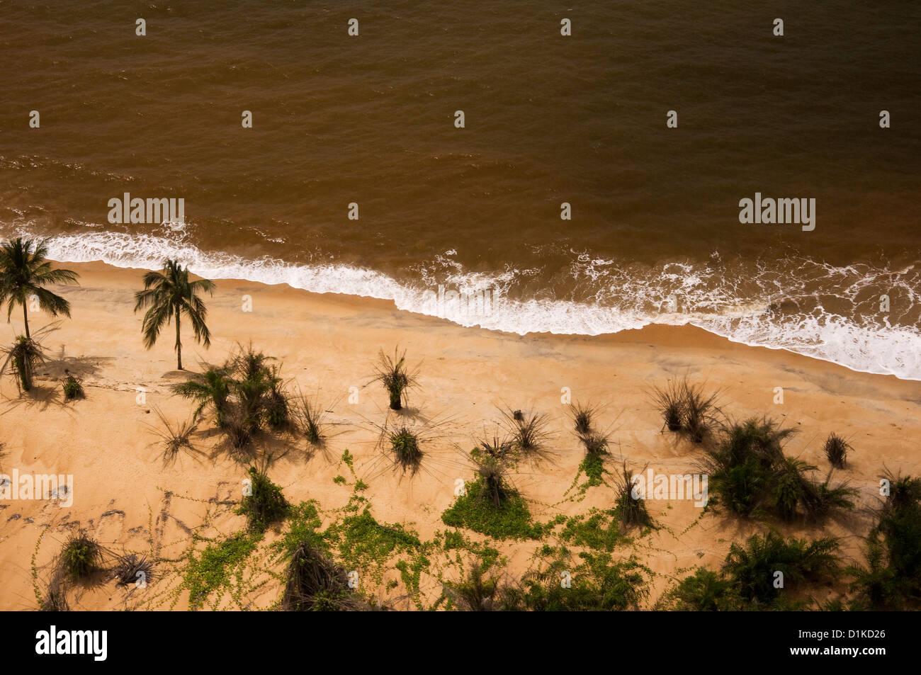 Liberian beach. A few miles west of Monrovia. - Stock Image