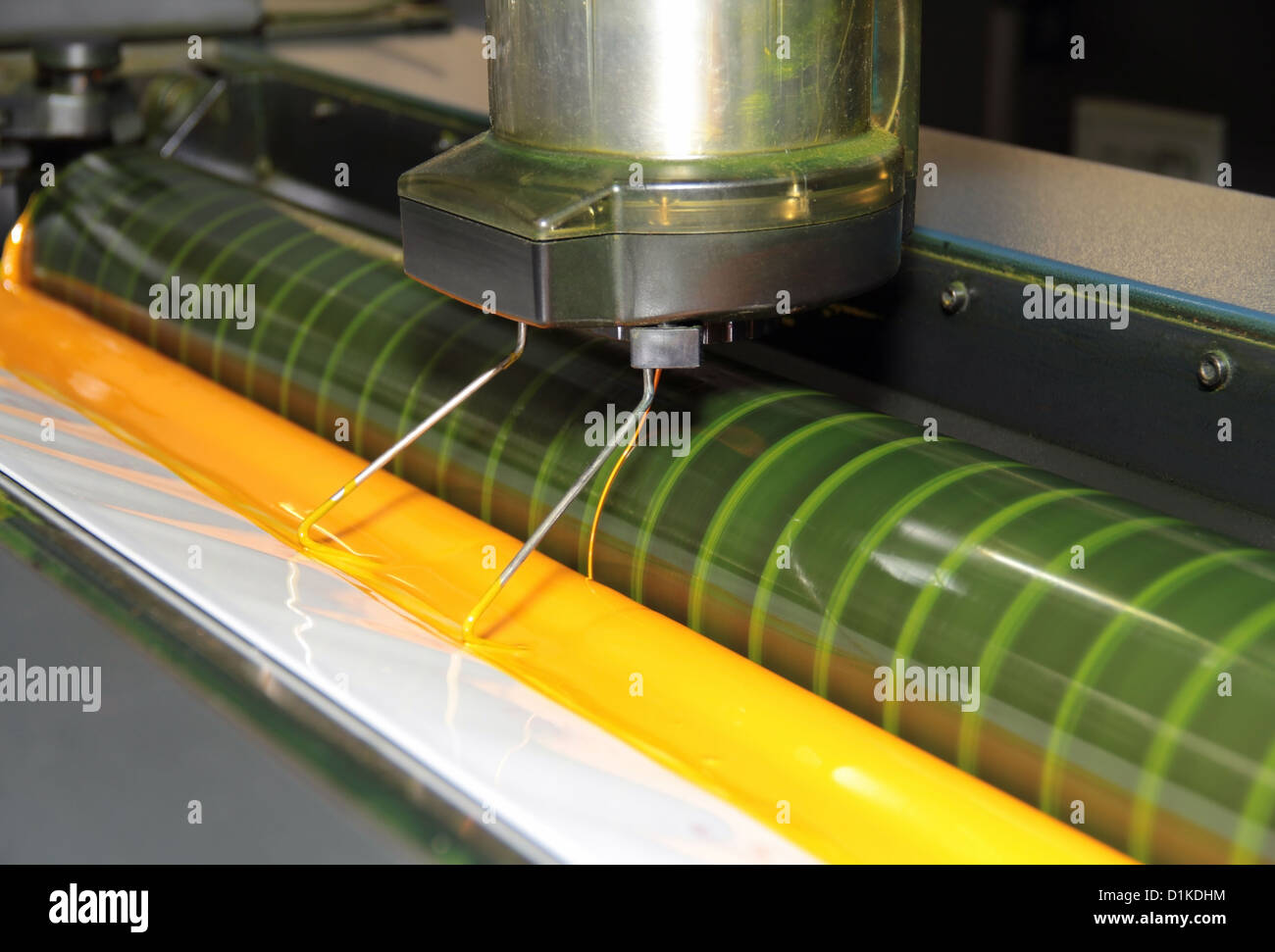 color deck detail of a offset printing machine - Stock Image
