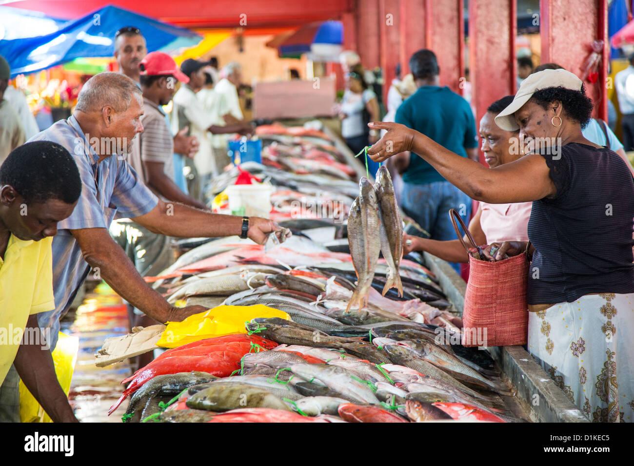 Victoria fish market, Victoria, Mahe Island, Seychelles - Stock Image