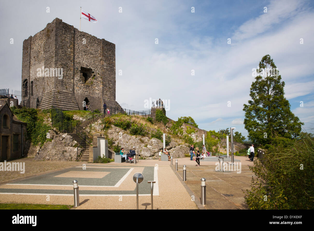 Clitheroe Castle and play area below the Keep. - Stock Image