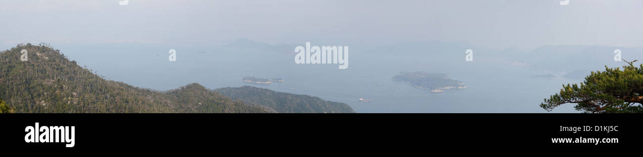 Panorama of Seto Inland Sea in Japan as seen from Mt. Misen at Miyajima, Japan - Stock Image