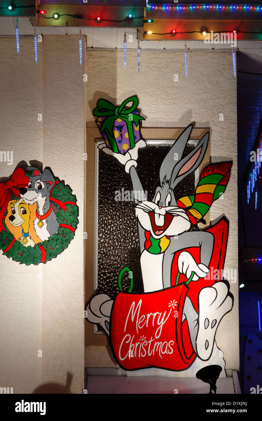 House lit up for annual Christmas season with Bugs Bunny cartoon character.-Victoria, British Columbia, Canada. Stock Photo