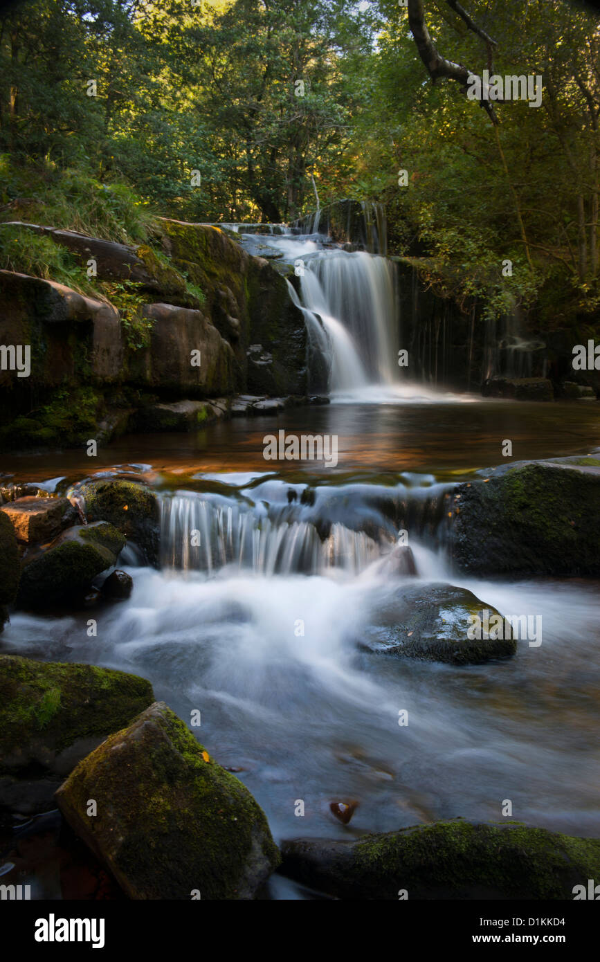 Talybont on Usk waterfall on the Caerfanell river. - Stock Image