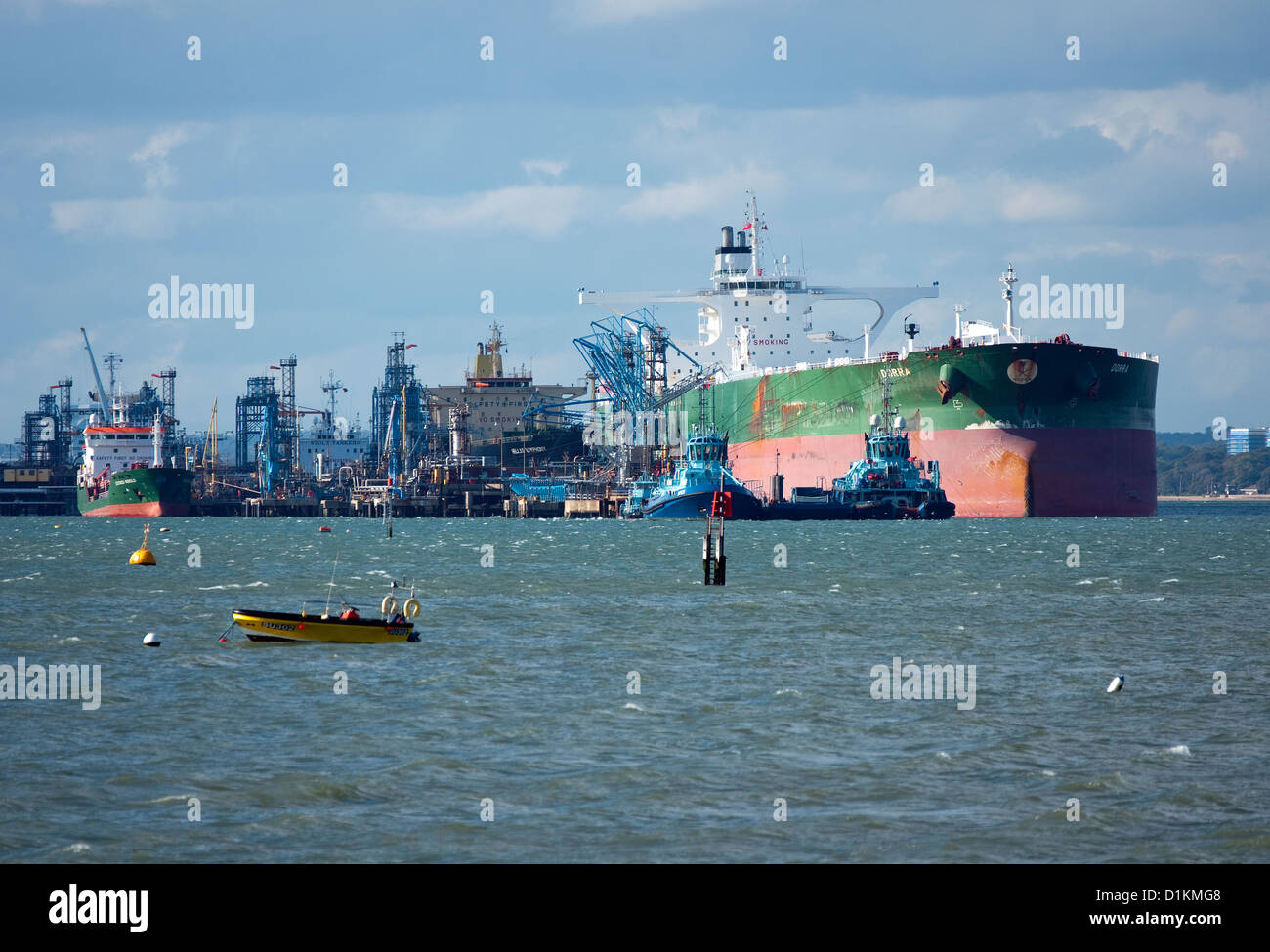 Oil tanker at Fawley Oil Refinary in Southampton Hampshire - Stock Image