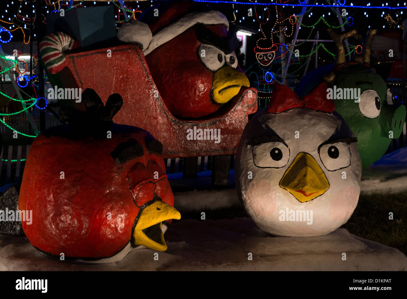 paper mache statues of angry birds in a christmas display at hidlago texas usa