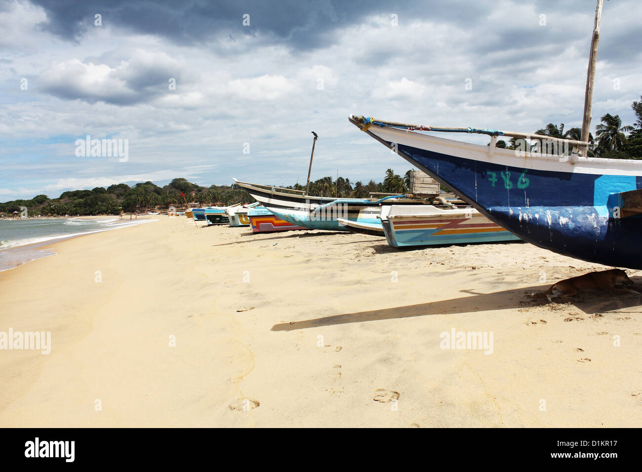 Boats on the beach at Arugam Bay Stock Photo