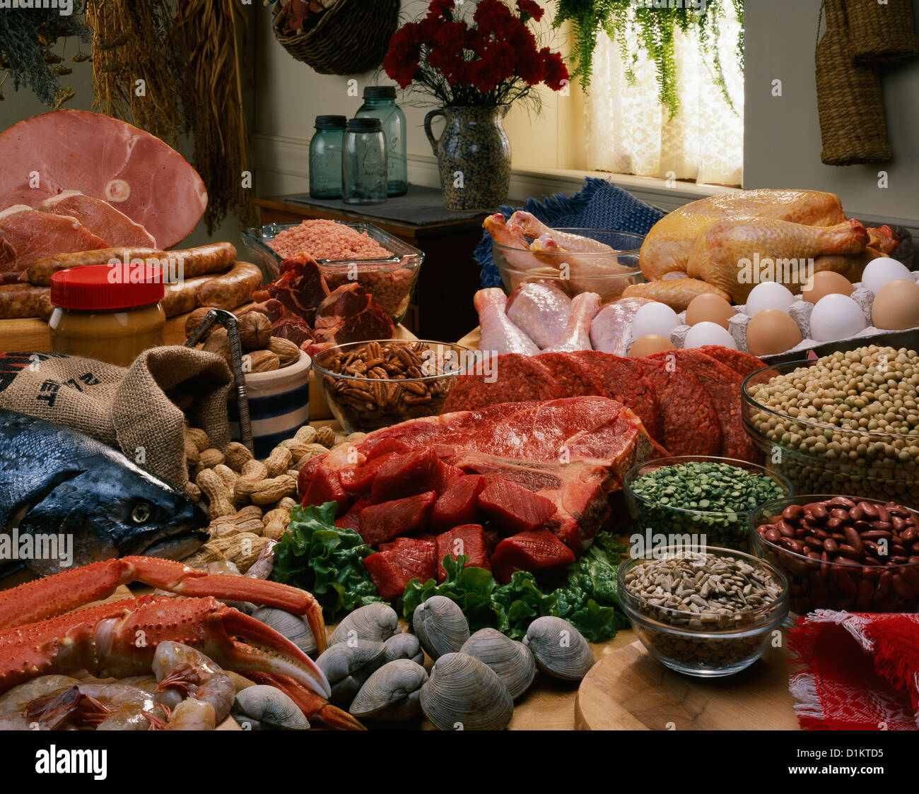 Protein food group meat poultry fish and beans stock for Is fish meat
