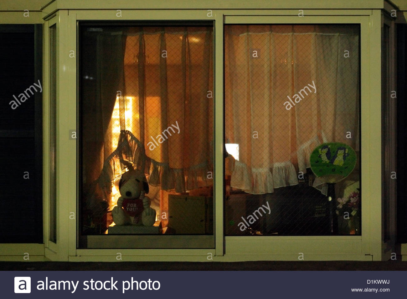 domestic house window seen from the outside during night time - Stock Image